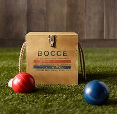 Love the box. Bocce set from Restoration Hardware for $119.00 #games #bocce