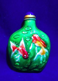 Vintage Chinese Snuff Bottle Enameled Green With Goldfish Aquatic Design