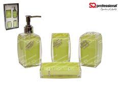 4-piece Glass Bathroom Set - GREEN: liquid soap/lotion dispenser, tumbler, toothbrush holder, soap tray #bathroom #soap #lotion #clean #toothbrush #green #glass #diamond #sqprofessional