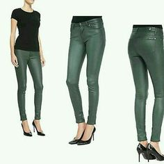 7 for all  Mankind Crackled Leather look Skinnies Bnwt  7FAM CRACKED LEATHER LOOK NOT REAL LEATHER NOT DENIM .MATERIAL IS 90 POLYESTER/10%spandex ) SKINNY PANTS  IN FOREST GREEN CRACKLE leather  FRCL. ..soft and supple..I have posted under jeans but not denim. Has Horizontal seam on front of leg near knee SZ 26 Style. AU0382388A? CUT 043552? Description from web 7 for all mankind skinny jeans cut from soft microsuede have a luxe look and formfitting silhouette. Faux front pockets and patch…