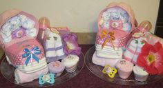 Twin diaper carriages for baby shower