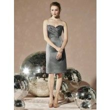 TYAD169 Matte Satin Strapless cocktail length Grey Cocktail Dresses