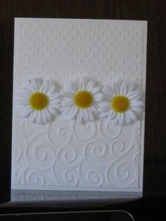 Cuttlebug embossing folders Swiss dots and swirls. Hand Made Greeting Cards, Making Greeting Cards, Greeting Cards Handmade, Pretty Cards, Cute Cards, Embossed Cards, Handmade Birthday Cards, Creative Cards, Flower Cards
