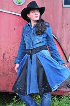 Denim and Black Satin Upcycled Blue Jean Jacket Long Coat | TheGypsyCottage - Clothing on ArtFire SOLD