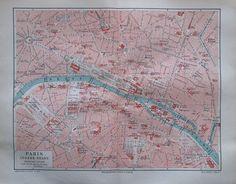 PARIS INNERE STADT 1896 alte Stadtplan Landkarte Antique City Map Lithographie
