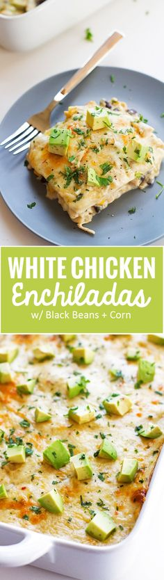 White Chicken Enchilada Casserole - Stacked white chicken enchilada casserole where the tortillas act like lasagna noodles! #casserole #chickencasserole #enchilada #enchiladacasserole   littlespicejar.com