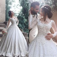 Luxury Lace Ball Gown Wedding Dresses with Long Sleeve 2017 Romantic Appliques Full Lace Sweep Train Wedding Bridal Gowns New Arrival