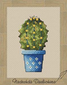 Cactus in a pot PDF digital cross stitch pattern, Easy embroidery design for beginner Cross Stitch Designs, Cross Stitch Patterns, Cactus Flower, Knitting For Beginners, Pin Cushions, Couture, Flower Designs, Needlepoint, Embroidery Designs