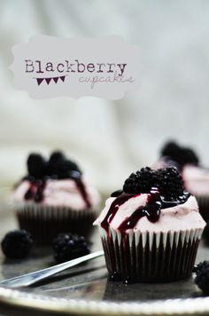 One-Bowl Chocolate Cupcakes with Blackberry Mascarpone Frosting