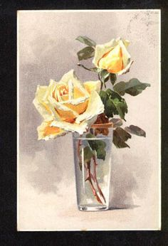 Yellow ROSES in Glass by C. KLEIN