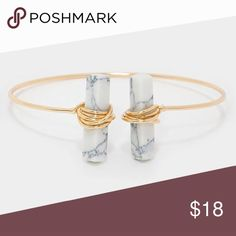 """Howlite Stone Tip Cuff Bracelet Gold and stone cuff bracelet. Size: 1"""" H, 2.25"""" D. Farah Jewelry Jewelry Bracelets"""