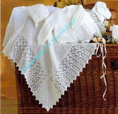 Baby 3ply Christening Shawl  Matinee Jacket Bonnet by CheapKnits4u