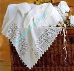 Baby 3ply Christening Shawl  Matinee Jacket Bonnet by CheapKnits4u