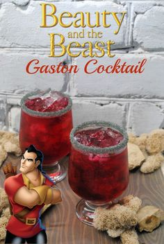 Gaston, the handsome, but shallow villager who woos Belle in Beauty and The Beast, is who we are featuring today with a Gaston Cocktail recipe. Party Drinks Alcohol, Alcohol Drink Recipes, Cocktail Drinks, Fun Drinks, Yummy Drinks, Cocktail Recipes, Alcoholic Drinks, Water Recipes, Fun Cocktails