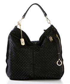 ecd4431806be Anna Morellini Nero Woven Leather Hobo