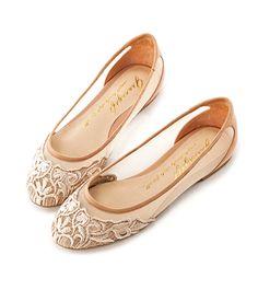 Grace giftGrace gift 官方購物網站 - 法式古典針織雕花娃娃鞋