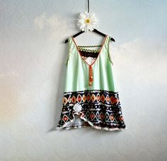 Plus Size Southwest Boho Women's Clothing Green Plus Size Top X