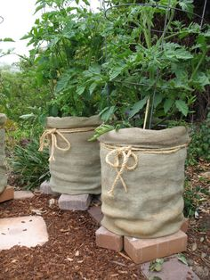Burlap and twine around large cleaned out paint buckets to dress them up a bit - great idea!