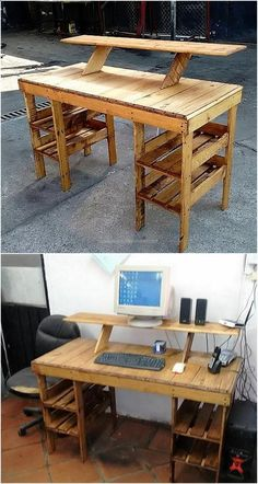 Cost DIY Pallet Wood Creations There is a need of proper place if a person uses a desktop computer, this idea of creating upcycled wooden pallets system desk will not only provide a place to set the computer; but also fulfill the requirement if the person Pallet Desk, Wooden Pallet Projects, Wooden Pallet Furniture, Pallet Crafts, Wooden Pallets, Furniture Plans, Diy Furniture, Pallet Wood, Wood Desk