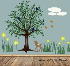 Tree Wall Decal Childrens decor vinyl wall art with baby deer and woodland extras. $125.00, via Etsy.