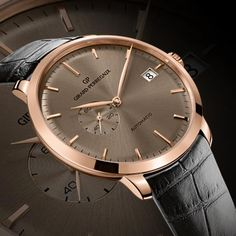 Timeless appeal: the Girard-Perregaux 1966 with Date and Small Second. Discover more:http://www.girard-perregaux.com/collection/collection-en.aspx?type=1&id=4 #watch #classic #elegant #luxury #for him #men #horlogerie #gold
