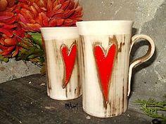- Srdiečkový hrnček - 6169665_ Beer, Mugs, Tableware, Handmade, Ale, Dinnerware, Hand Made, Tumbler, Dishes