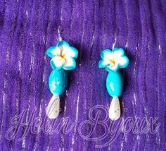 Orecchini con fiore in fimo,perlina turchese e perlina a goccia