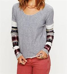 Free People Striped Angel French Terry Pullover