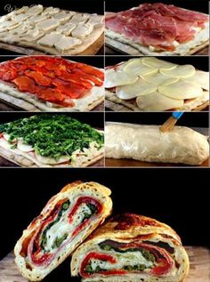 Three Cheese Broccoli, Prosciutto and Roasted Red Pepper Stromboli. Give me three cheese anything and I'm anybody's. I Love Food, Good Food, Yummy Food, Yummy Lunch, Great Recipes, Favorite Recipes, Easy Recipes, Cooking Recipes, Healthy Recipes