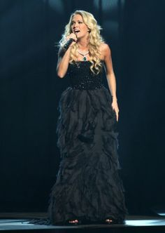 Singer Carrie Underwood appears on stage during the 42nd Annual CMA Awards at the Sommet Center on November 12, 2008 in Nashville, Tennessee.
