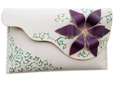 Purple flower clutch Painted Ivory clutch Leather by spiculdegrau