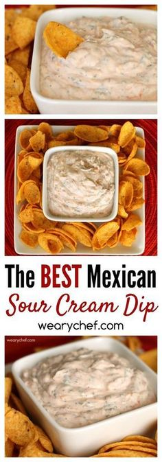 This crowd-pleasing Mexican Sour Cream Dip Recipe is perfect for last minute guests. All you need is sour cream, salsa, shredded cheese, and a few spices. You'll be ready for dipping in five minutes! Yummy Appetizers, Appetizers For Party, Appetizer Recipes, Mexican Food Appetizers, Easy Appetizer Dips, Recipes Dinner, Last Minute Appetizer, Tostada Recipes, Tapas Recipes