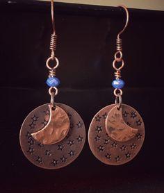 6c3848c88 Celestial earrings-hand stamped earrings-hammered jewelry-celestial jewelry-star  earrings-moon earrings-copper earrings