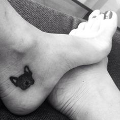My puppy tattoo. French bulldog tattoo on my left foot.