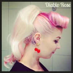 Rockabilly Pin Up Hairstyles | Diablo+Rose+Pink+hair++cherries+pin+up+victory+rolls+pin+up+rockabilly ...