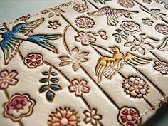 兵庫県 姫路 文庫革細工 おしゃれなお財布^^  Handmade leather craft (a purse)