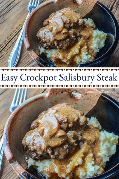 Easy Crockpot Salisbury Steak Recipe! The slow cooker does all the work and you have an amazing dinner recipe! You won't believe how easy this recipe is to make! The perfect family dinner. Ingredients include ground beef, onion soup mix, cream of mushrooms, and brown gravy. #slowcooker #crockpot #steak #salisburysteak #recipe.