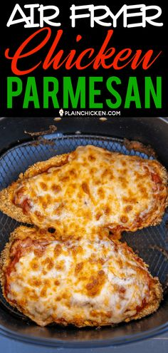 Air Fryer Chicken Parmesan - all the flavor and none of the fat! I am OBSESSED w. - Air Fryer Chicken Parmesan – all the flavor and none of the fat! I am OBSESSED with this crunchy - Air Fryer Oven Recipes, Air Frier Recipes, Air Fryer Dinner Recipes, Air Fryer Chicken Recipes, Chicken Breast Air Fryer Recipe, Low Carb Meal, Sauce Pizza, Air Fried Food, Air Fryer Healthy