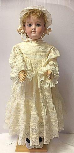 """ANTIQUE Heinrich Handwerck 29"""" German Bisque  Doll Pierced Ears Stamped Body"""