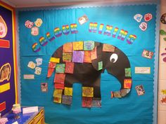 Elmer the Elephant art display, was a fab way to get the kids to mix lots of different colours and talk about them.
