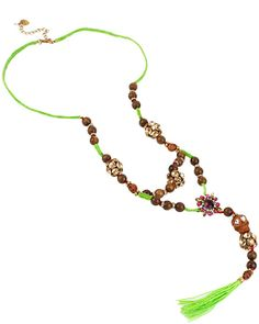 ST BARTS WOOD BEAD Y NECKLACE GREEN accessories jewelry necklaces fashion