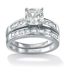 1.94 TCW Princess-Cut Cubic Zirconia Platinum Over Sterling Silver Bridal Engagement Ring Set, Size 10,5,6,7,8,9 by PalmBeach Jewelry, Size 10,5,6,7,8,9