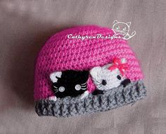 Kitties are curious! girls love kitties! This pattern includes 6 sizes New born, 0 – 3 months: 3 - 6 months: 6 - 12 months: 12-18 months Toddler-child Child -Teenage  Material: Worsted yarn and small amount DK yarn for kitties Hook: 4.5mm and US E6/4.0mm, or any sizes to obtain gauges  Skill level: Advanced beginner intermediate It is easy and quick to make. I added a lot of step-by-step photos and tutorial videos to help you to work through the project. You can add a pompom on hat top o...