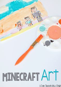 Minecraft Art: Making impressionist paintings to go along with your child's favorite video games! Love this cross-over connection! Minecraft Activities, Minecraft Art, Art Activities, Minecraft Challenges, Minecraft Stuff, Crafts For Kids To Make, Projects For Kids, Art Projects, Kid Crafts