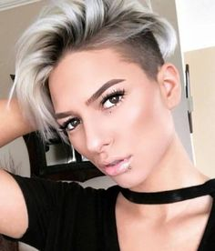 Ash blonde isn't just for long hair. Pixie cuts look amazing with them this color too! #ashblonde #pixiecut #blondehair