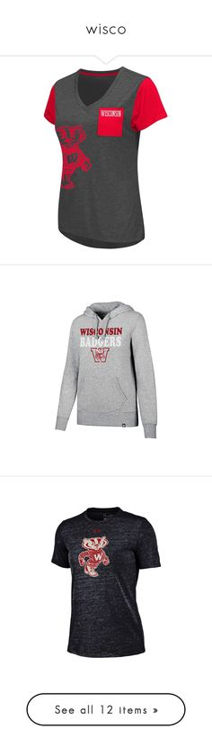 """""""wisco"""" by makenzie-e-villas ❤ liked on Polyvore featuring tops, t-shirts, red overfl, pocket t shirts, red top, short sleeve pocket tee, v neck t shirts, v neck pocket t shirts, retro tees and under armour tee"""