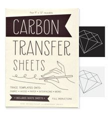 Permanent white Carbon Transfer Paper for marking embroidery designs onto dark fabric (Tutorial here: http://www.sublimestitching.com/pages/how-to-dark-fabrics-1)