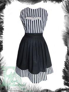 Gothic Stripes  Bat Dress Beetlejuice inspired. Any Size   emeraldangel - Clothing on ArtFire