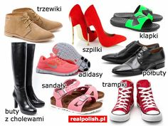 Polish vocabulary - Footwear Learn Polish, Polish Words, Polish Language, Logo Nasa, Oxford Shoes, Education, Learning, Speech Language Therapy, Languages