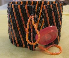 Cuff: All Hallow's Eve Peyote Stitch Bracelet Cuff by MCBDdesigns